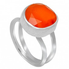 Round Shape Orange Carnelian Gemstone Handcrafted 925 Sterling Silver Ring Jewellery