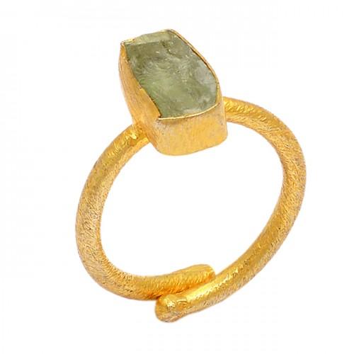 925 Sterling Silver Aquamarine Rough Gemstone Gold Plated Handmade Ring
