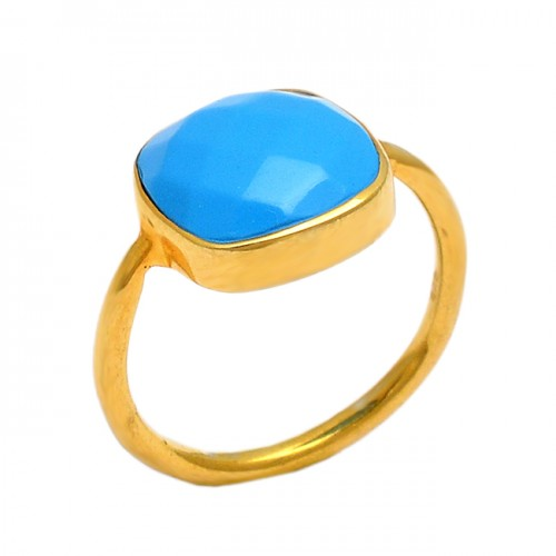Faceted Sqaure Shape Chalcedony Gemstone 925 Sterling Silver Gold Plated Ring
