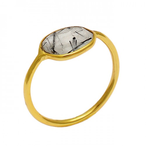 Faceted Oval Shape Golden Rutile Quartz Gemstone 925 Silver Gold Plated Ring