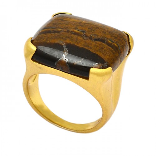 Cabochon Square Shape Tiger Eye Gemstone 925 Sterling Silver Gold Plated Ring