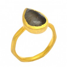 Faceted Pear Shape Labradorite Gemstone 925 Sterling Silver Gold Plated Ring