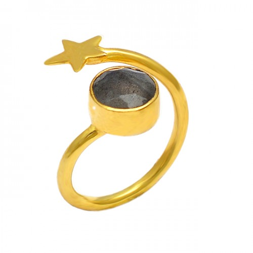 Faceted Round Shape Labradorite Gemstone 925 Sterling Silver Gold Plated Ring