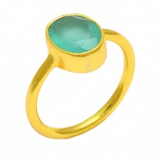 Faceted Oval Shape Aqua Chalcedony Gemstone 925 Sterling Silver Gold Plated Ring