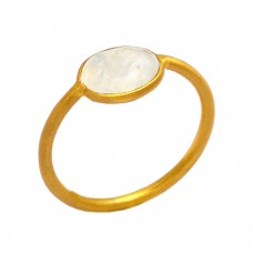 Faceted Oval Shape Rainbow Moonstone 925 Sterling Silver Gold Plated Ring