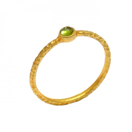 Faceted Round Shape Peridot Gemstone 925 Sterling Silver Gold Plated Ring
