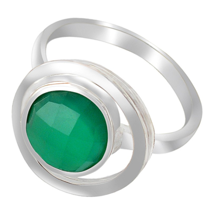 Briolette Round Green Onyx Gemstone Handcrafted 925 Sterling Silver Ring Jewelry