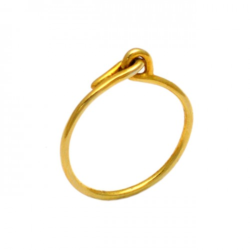 925 Sterling Silver Plain Handcrafted Designer Gold Plated Ring Jewelry