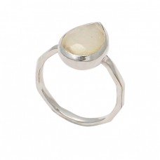 Pear Shape Rainbow Moonstone 925 Sterling Silver Handmade Designer Ring