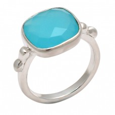 Square Shape Aqua Chalcedony Gemstone 925 Sterling Silver Designer Ring