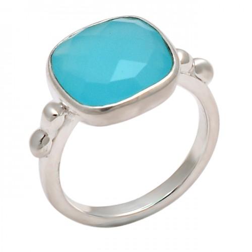 Square Shape Aqua Chalcedony Gemstone 925 Sterling Silver Designer Ring