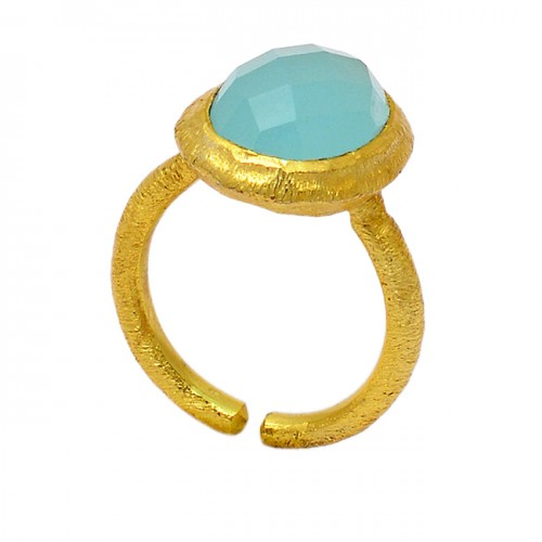 Oval Shape Aqua Chalcedony Gemstone 925 Sterling Silver Gold Plated Ring Jewelry