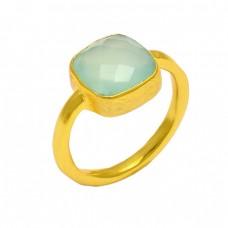 Cushion Shape Aqua Chalcedony Gemstone 925 Sterling Silver Gold Plated Ring