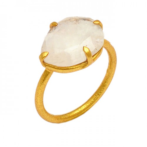 925 Sterling Silver Oval Shape Rainbow Moonstone Gold Plated Ring Jewelry