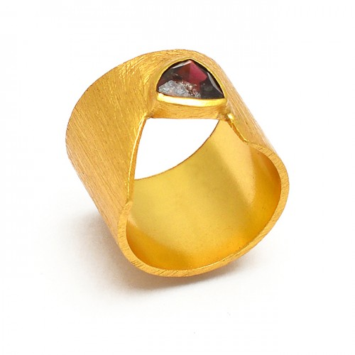 Triangle Shape Garnet Gemstone 925 Sterling Silver Gold Plated Designer Ring