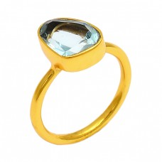 Blue Topaz Fancy Shape Gemstone 925 Sterling Silver Gold Plated Ring Jewelry