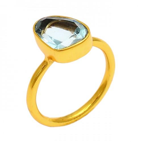 Blue Topaz Fancy Shape Gemstone 925 Sterling Silver Gold Plated Ring Jewelry