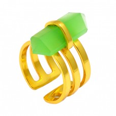 925 Sterling Silver Pencil Shape Chalcedony Gemstone Gold Plated Ring Jewelry