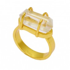925 Sterling Silver Crystal Quartz Pencil Shape Gemstone Gold Plated Ring Jewelry