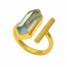 Pencil Shape Blue Topaz Gemstone 925 Sterling Silver Gold Plated Ring Jewelry