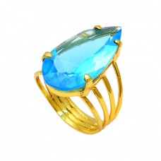 Prong Setting Pear Shape Blue Topaz Gemstone 925 Sterling Silver Gold Plated Ring