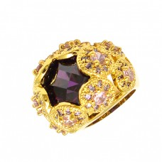 Amethyst Pink Quartz Gemstone 925 Sterling Silver Gold Plated Cocktail Ring