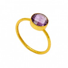 925 Sterling Silver Amethyst Round Shape Gemstone Gold Plated Designer Ring