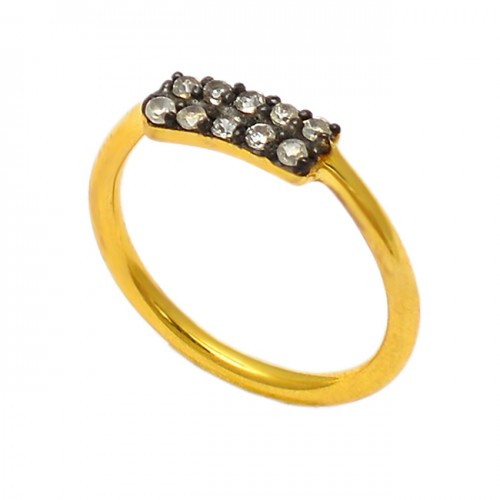 Faceted Round Crystal Quartz Gemstone 925 Sterling Silver Gold Plated Ring