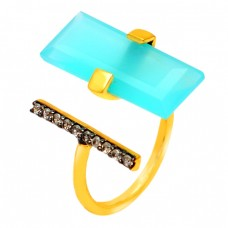 Rectangle Aqua Chalcedony Round Cubic Zirconia Gemstone 925 Sterling Silver Gold Plated Ring
