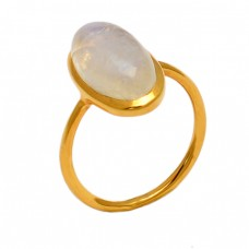925 Sterling Silver Oval Cabochon Moonstone Gold Plated Designer Ring Jewelry