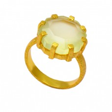 Prong Setting Prehnite Chalcedony Gemstone 925 Sterling Silver Gold Plated Ring