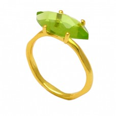 Marquise Shape Peridot Gemstone 925 Sterling Silver Gold Plated Ring Jewelry