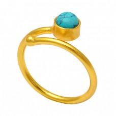 Handmade Designer Round Shape Turquoise Gemstone 925 Silver Gold Plated Ring