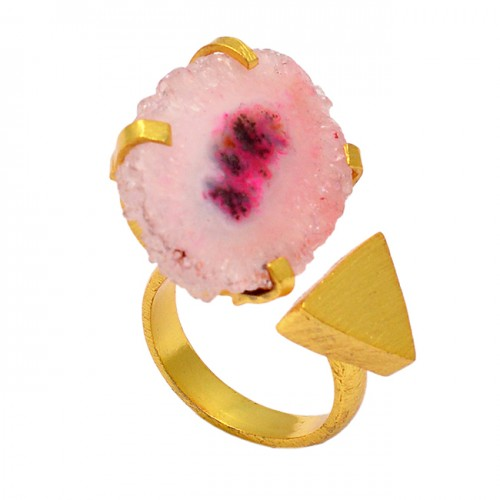 Free Shape Slice Gemstone 925 Sterling Silver Gold Plated Designer Ring Jewelry