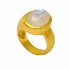Cabochon Oval Shape Moonstone 925 Sterling Silver Gold Plated Designer Ring