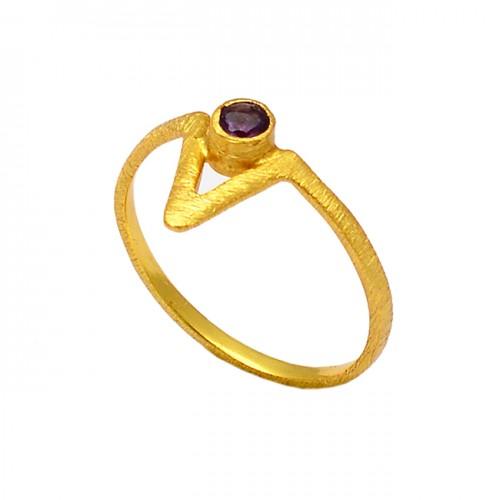 925 Sterling Silver Round Shape Garnet Gemstone Gold Plated Designer Ring