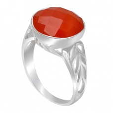 Briolette Round Shape Carnelian Gemstone 925 Sterling Silver Rings Jewelry