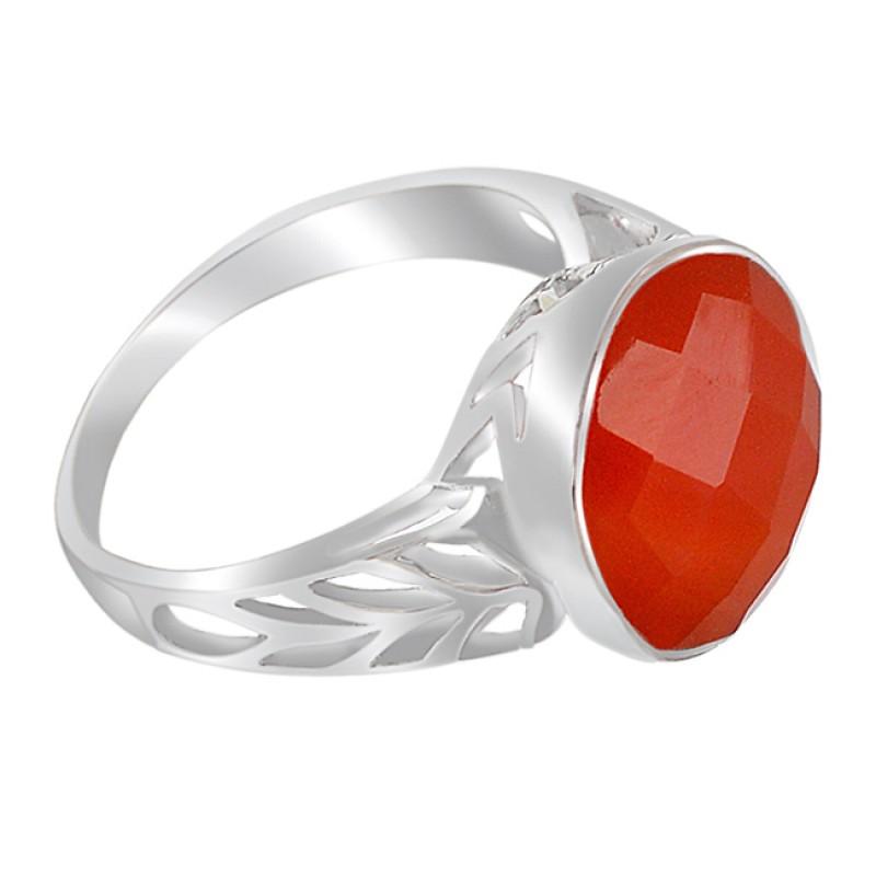 Briolette Round Shape Carnelian Gemstone 925 Sterling Silver Rings Jewelry