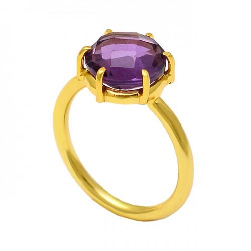 Round Shape Amethyst Gemstone 925 Sterling Silver Gold Plated Designer Ring