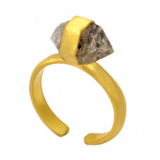 925 Sterling Silver Herkimer Diamond Rough Gemstone Gold Plated Handmade Ring