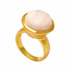 Round Shape Rhodochrosite Gemstone 925 Sterling Silver Gold Plated Ring Jewelry