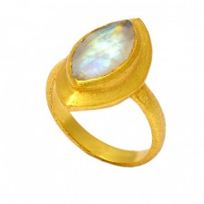 Marquise Shape Blue Topaz Gemstone 925 Sterling Silver Gold Plated Designer Ring