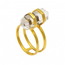 925 Sterling Silver Pencil Shape Crystal Quartz Gemstone Gold Plated Ring Jewelry