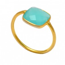 925 Sterling Silver Square Shape Aqua Chalcedony Gemstone Gold Plated Ring