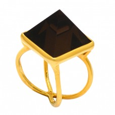 Triangle Shape Smoky Quartz Gemstone 925 Sterling Silver Gold Plated Ring