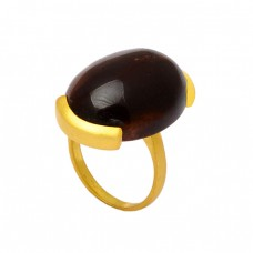 Oval Cabochon Garnet Gemstone 925 Sterling Silver Gold Plated Designer Ring