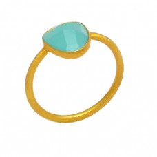 Fancy Shape Aqua Chalcedony Gemstone 925 Sterling Silver Gold Plated Ring