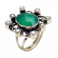 Stylish Oval Round Shape Green Onyx Pearl Gemstone 925 Sterling Silver Rings Jewelry