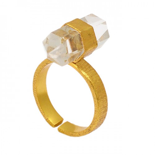 Pencil Shape Crystal Quartz Gemstone 925 Sterling Silver Gold Plated Designer Ring