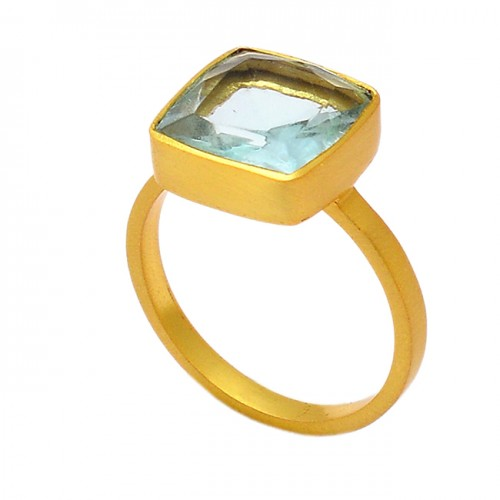 Square Shape Blue Topaz Gemstone 925 Sterling Silver Gold Plated Ring Jewelry